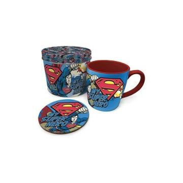 Taza con posavasos Superman